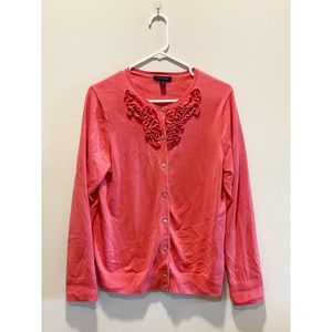 Lands' End Rose Embroidered Cardigan